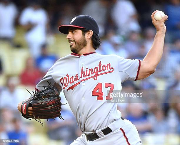 Gio Gonzalez of the Washington Nationals pitches against the Los Angeles Dodgers during the first inning at Dodger Stadium on August 10 2015 in Los...