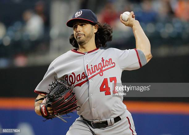 Gio Gonzalez of the Washington Nationals pitches against the New York Mets during their game at Citi Field on May 18 2016 in New York City