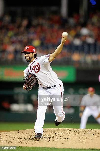 Gio Gonzalez of the Washington Nationals pitches against the Baltimore Orioles at Nationals Park on September 22 2015 in Washington DC