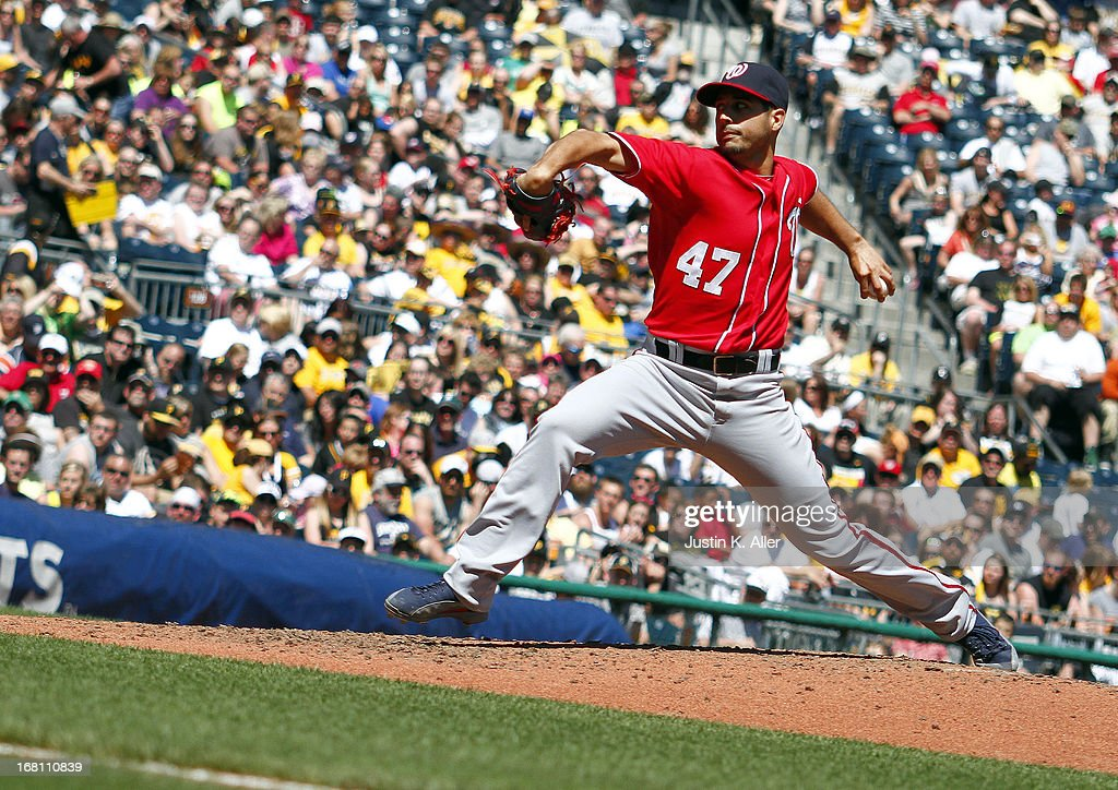 <a gi-track='captionPersonalityLinkClicked' href=/galleries/search?phrase=Gio+Gonzalez&family=editorial&specificpeople=759378 ng-click='$event.stopPropagation()'>Gio Gonzalez</a> #47 of the Washington Nationals pitches against the Pittsburgh Pirates during the game on May 5, 2013 at PNC Park in Pittsburgh, Pennsylvania.
