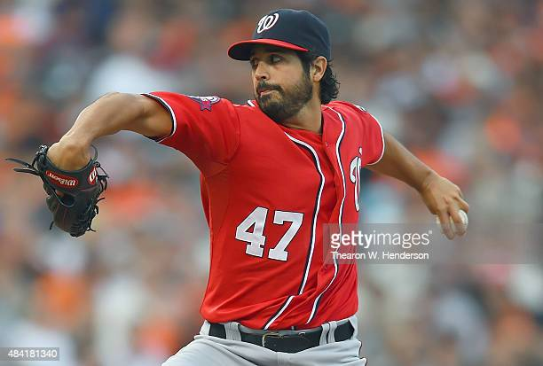 Gio Gonzalez of the Washington Nationals pitches against the San Francisco Giants in the bottom of the first inning at ATT Park on August 15 2015 in...