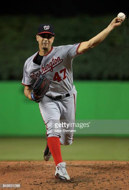 Gio Gonzalez of the Washington Nationals pitches during a game against the Miami Marlins at Marlins Park on September 6 2017 in Miami Florida