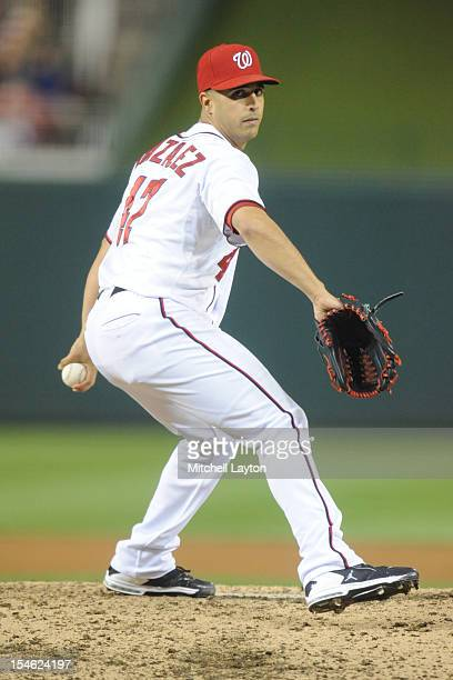Gio Gonzalez of the Washington Nationals pitches during Game Five of the National League Division Series against the St Louis Cardinals at Nationals...
