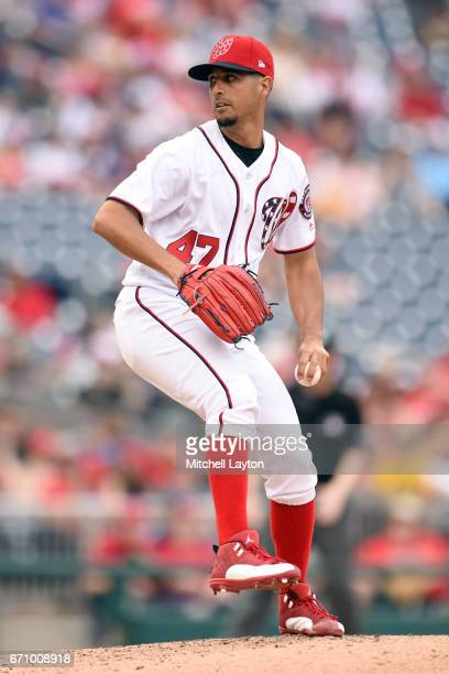 Gio Gonzalez of the Washington Nationals pitches during the game against the Philadelphia Phillies at Nationals Park on April 16 2017 in Washington...