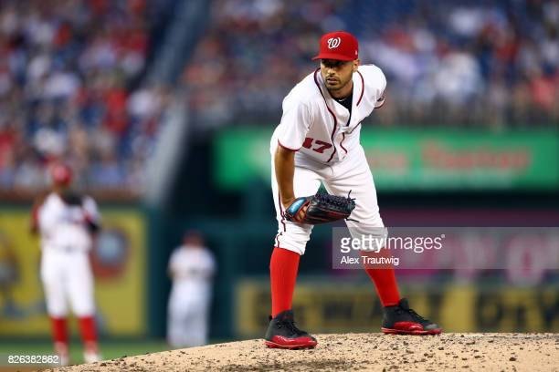 Gio Gonzalez of the Washington Nationals pitches during the game against the Milwaukee Brewers at Nationals Park on Wednesday July 26 2017 in...