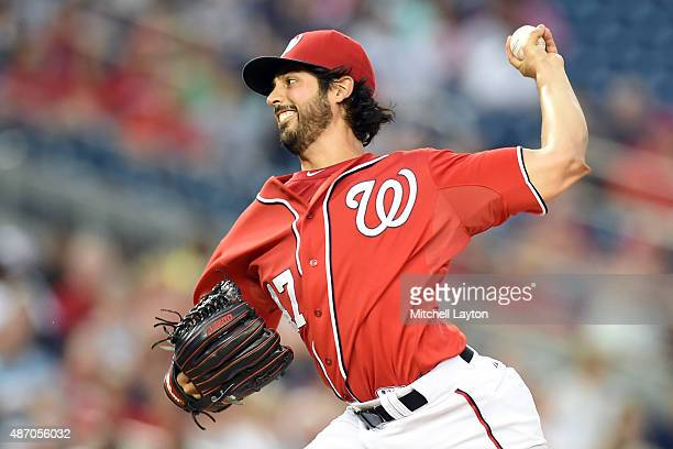 Gio Gonzalez of the Washington Nationals pitches in second inning during a baseball game against the Atlanta Braves at Nationals Park on September 5...