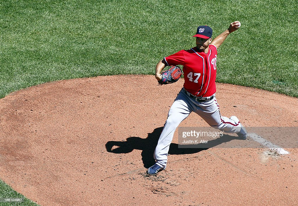 <a gi-track='captionPersonalityLinkClicked' href=/galleries/search?phrase=Gio+Gonzalez&family=editorial&specificpeople=759378 ng-click='$event.stopPropagation()'>Gio Gonzalez</a> #47 of the Washington Nationals pitches in the first inning against the Pittsburgh Pirates during the game on May 5, 2013 at PNC Park in Pittsburgh, Pennsylvania.