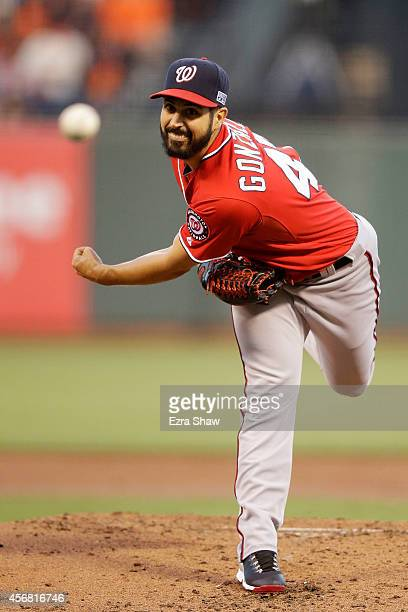 Gio Gonzalez of the Washington Nationals pitches in the first inning against the San Francisco Giants during Game Four of the National League...