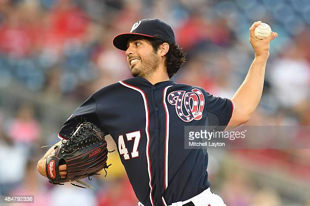 Gio Gonzalez of the Washington Nationals pitches in the first inning during a baseball game against the Milwaukee Brewers at Nationals Park on August...