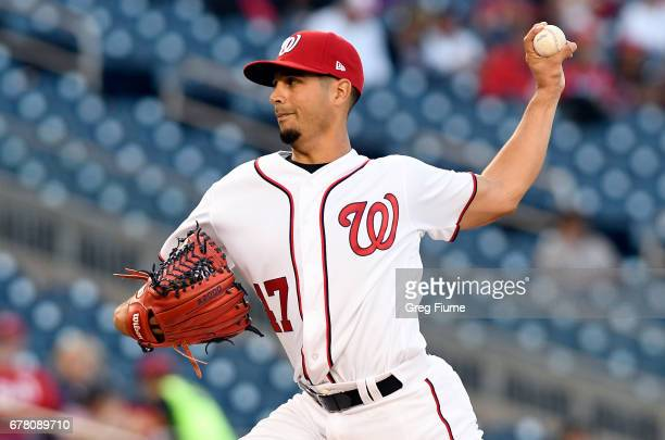 Gio Gonzalez of the Washington Nationals pitches in the first inning against the Arizona Diamondbacks at Nationals Park on May 3 2017 in Washington DC