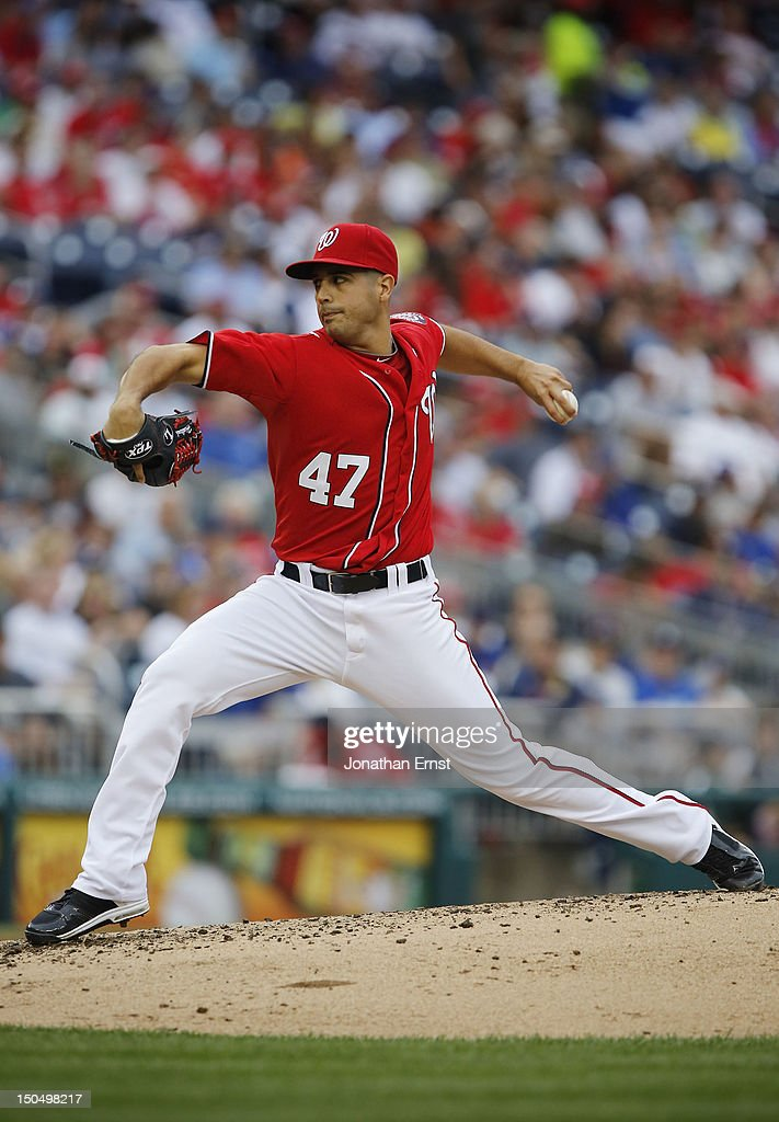 <a gi-track='captionPersonalityLinkClicked' href=/galleries/search?phrase=Gio+Gonzalez&family=editorial&specificpeople=759378 ng-click='$event.stopPropagation()'>Gio Gonzalez</a> #47 of the Washington Nationals pitches in the fourth inning against the New York Mets at Nationals Park on August 19, 2012 in Washington, DC.