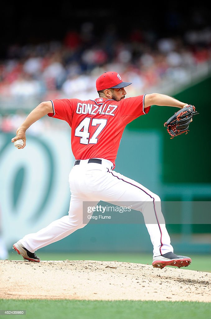 <a gi-track='captionPersonalityLinkClicked' href=/galleries/search?phrase=Gio+Gonzalez&family=editorial&specificpeople=759378 ng-click='$event.stopPropagation()'>Gio Gonzalez</a> #47 of the Washington Nationals pitches in the second inning against the Milwaukee Brewers at Nationals Park on July 20, 2014 in Washington, DC.