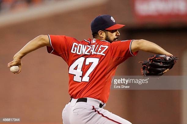 Gio Gonzalez of the Washington Nationals pitches in the second inning against the San Francisco Giants during Game Four of the National League...