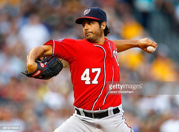 Gio Gonzalez of the Washington Nationals pitches in the third inning against the Pittsburgh Pirates during the game at PNC Park on July 25 2015 in...