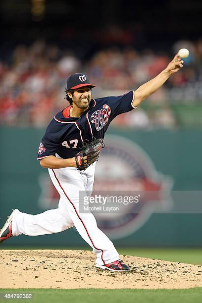 Gio Gonzalez of the Washington Nationals pitches in the third inning during a baseball game against the Milwaukee Brewers at Nationals Park on August...