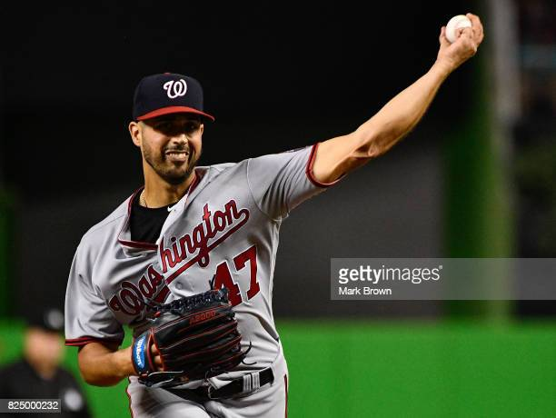 Gio Gonzalez of the Washington Nationals pitches in the third inning during the game between the Miami Marlins and the Washington Nationals at...