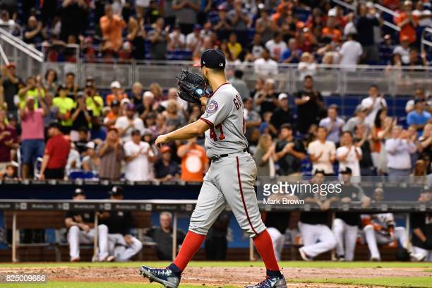 Gio Gonzalez of the Washington Nationals points to Miami Marlins bench after giving up a no hitter in the ninth inning during the game between the...