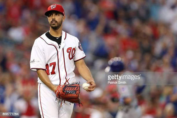 Gio Gonzalez of the Washington Nationals reacts after Anthony Rizzo of the Chicago Cubs hit a two run home run in the fourth inning during game two...