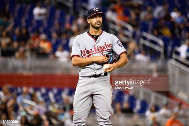 Gio Gonzalez of the Washington Nationals reacts after losing a no hitter in the ninth inning during the game between the Miami Marlins and the...