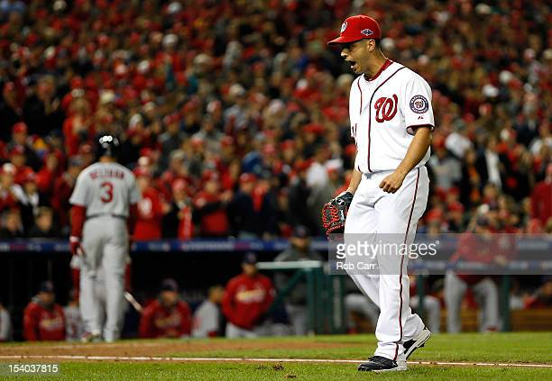 Gio Gonzalez of the Washington Nationals reacts after the fifth inning against the St Louis Cardinals in Game Five of the National League Division...