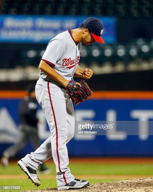 Gio Gonzalez of the Washington Nationals reacts after the final out of his complete game one hit 90 shutout victory against the New York Mets at Citi...