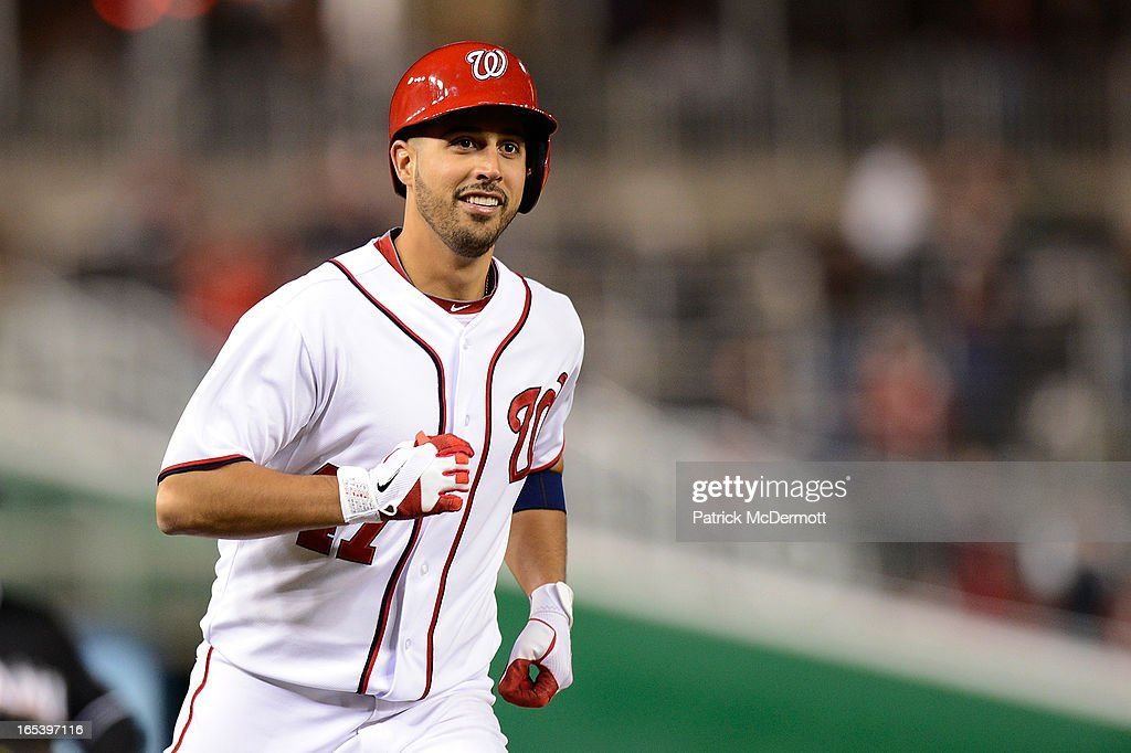 <a gi-track='captionPersonalityLinkClicked' href=/galleries/search?phrase=Gio+Gonzalez&family=editorial&specificpeople=759378 ng-click='$event.stopPropagation()'>Gio Gonzalez</a> #47 of the Washington Nationals rounds third base after hitting a solo home run in the fifth inning during a game against the Miami Marlins at Nationals Park on April 3, 2013 in Washington, DC.