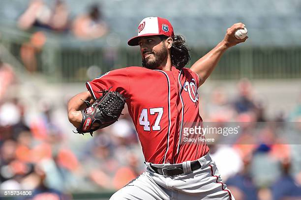 Gio Gonzalez of the Washington Nationals throws a pitch during the first inning of a spring training game against the Houston Astros at Osceola...