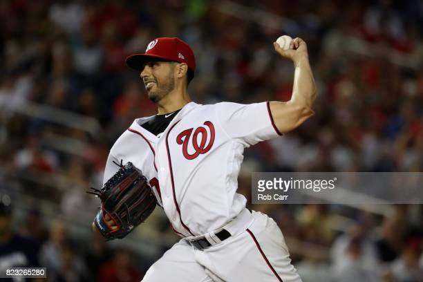Gio Gonzalez of the Washington Nationals throws to a Milwaukee Brewers batter in the sixth inning at Nationals Park on July 26 2017 in Washington DC