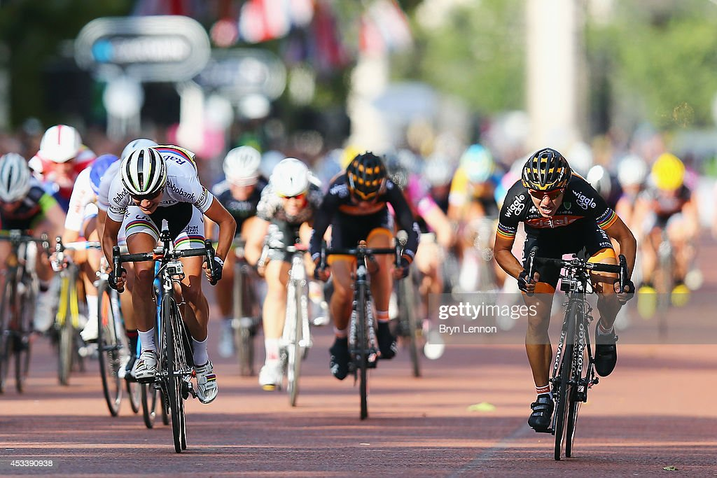 Giorga Bronzini (r) of Italy and Wiggle Honda sprints against Marrianne Vos (l) of The Netherlands and the Rabo-Liv team on her way to winning the Prudential RideLondon Grand Prix Pro Womens race in St James's Park on August 9, 2014 in London, England.