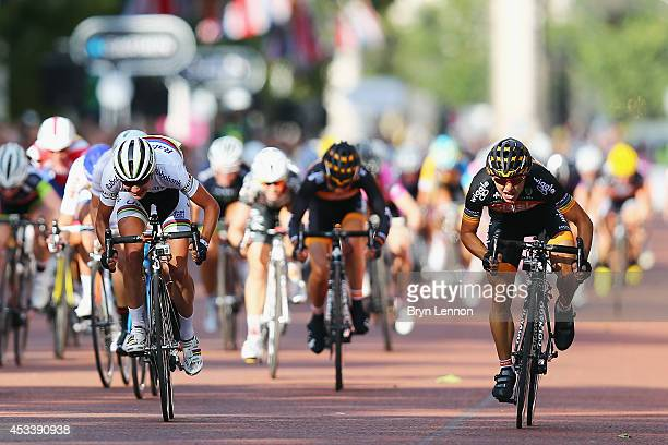 Giorga Bronzini of Italy and Wiggle Honda sprints against Marrianne Vos of The Netherlands and the RaboLiv team on her way to winning the Prudential...