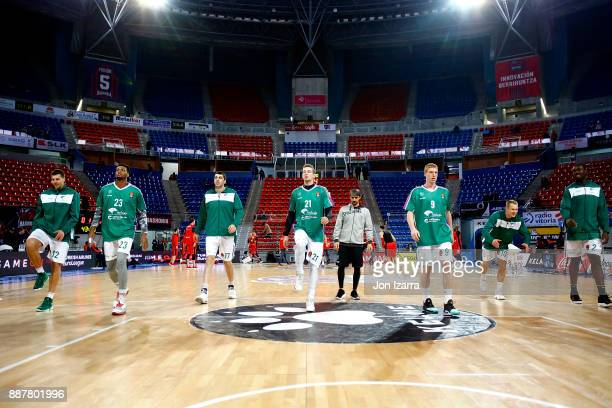 Giorgi Shermadini #17 of Unicaja Malaga warm up during the 2017/2018 Turkish Airlines EuroLeague Regular Season Round 11 game between Baskonia...