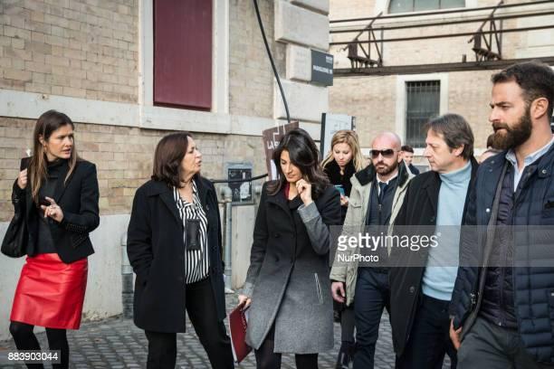 Giorgia Abeltino Head of Institutional Relations of Google Flavia Marzano Virginia Raggi Mayor of Rome and Luca Bergamo Deputy Mayor of Rome arrive...