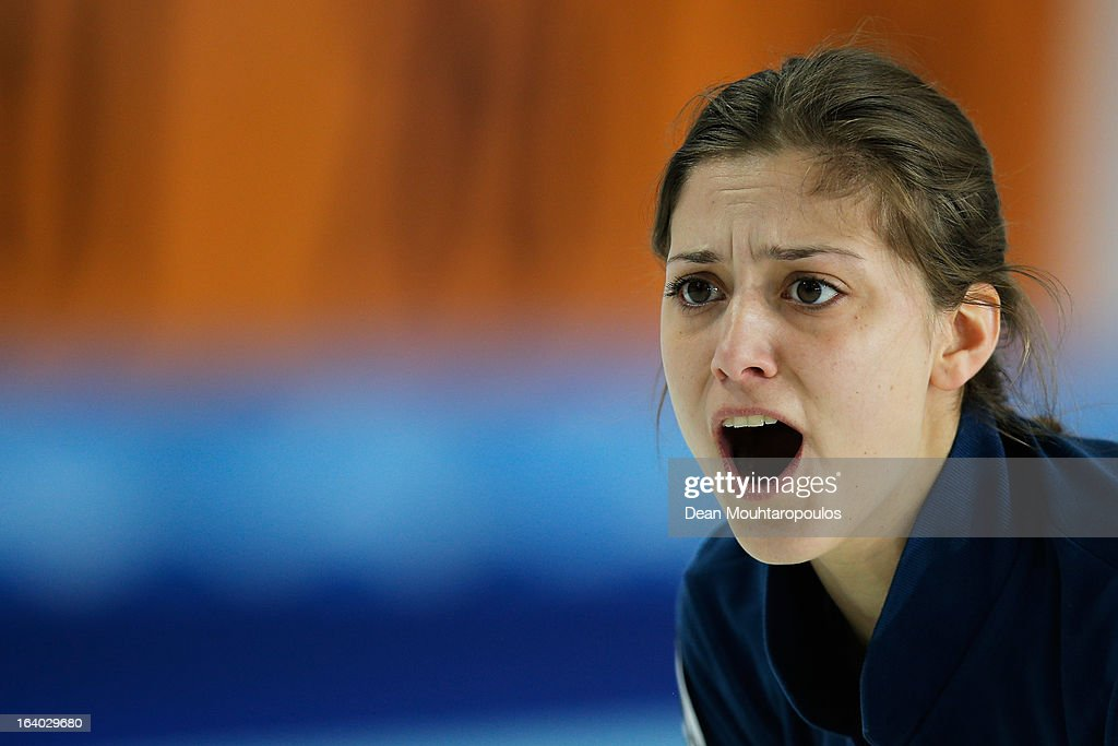 Giorgia Apollonio of Italy shouts instructions after she throws her stone in the match between Japan and Italy on Day 4 of the Titlis Glacier Mountain World Women's Curling Championship at the Volvo Sports Centre on March 19, 2013 in Riga, Latvia.