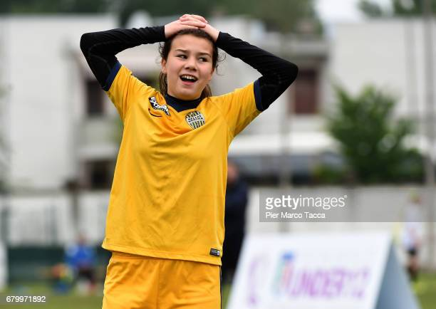Giorgia Bertucco of Hellas Verona Women Under 12 looks during the match between Hellas Verona and SSV Brixen obi for Danone Nations Cup 2017 on May 7...