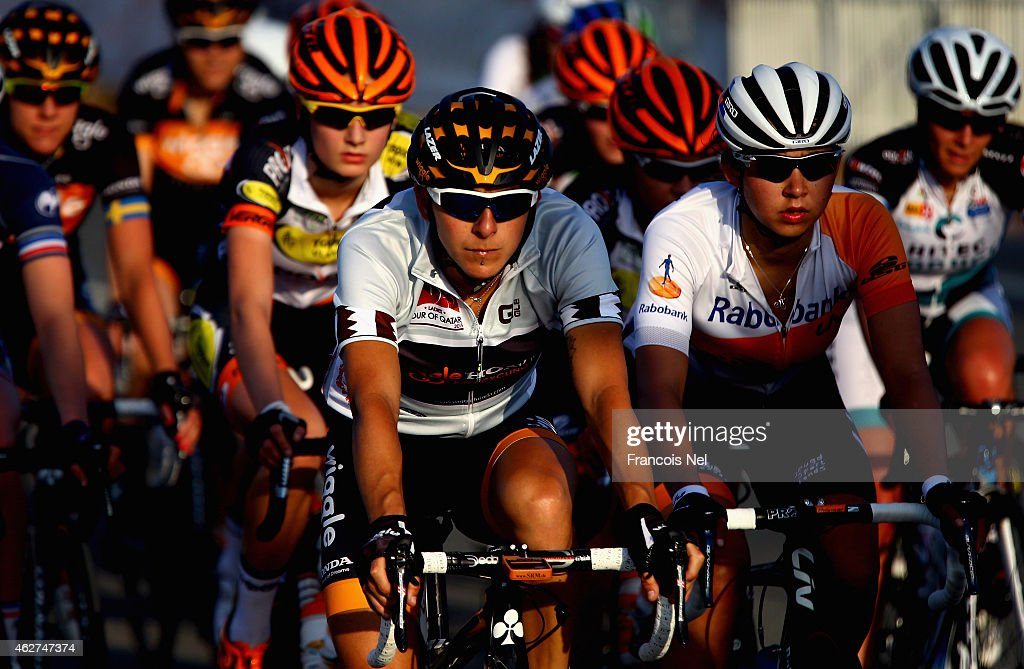 <a gi-track='captionPersonalityLinkClicked' href=/galleries/search?phrase=Giorgia+Bronzini&family=editorial&specificpeople=2501868 ng-click='$event.stopPropagation()'>Giorgia Bronzini</a> of Italy and Wiggle Honda in action during stage two of the 2015 Ladies Tour of Qatar from Al Zubarah Fort to Madinat Al Shamal on February 4, 2015 in Doha, Qatar.