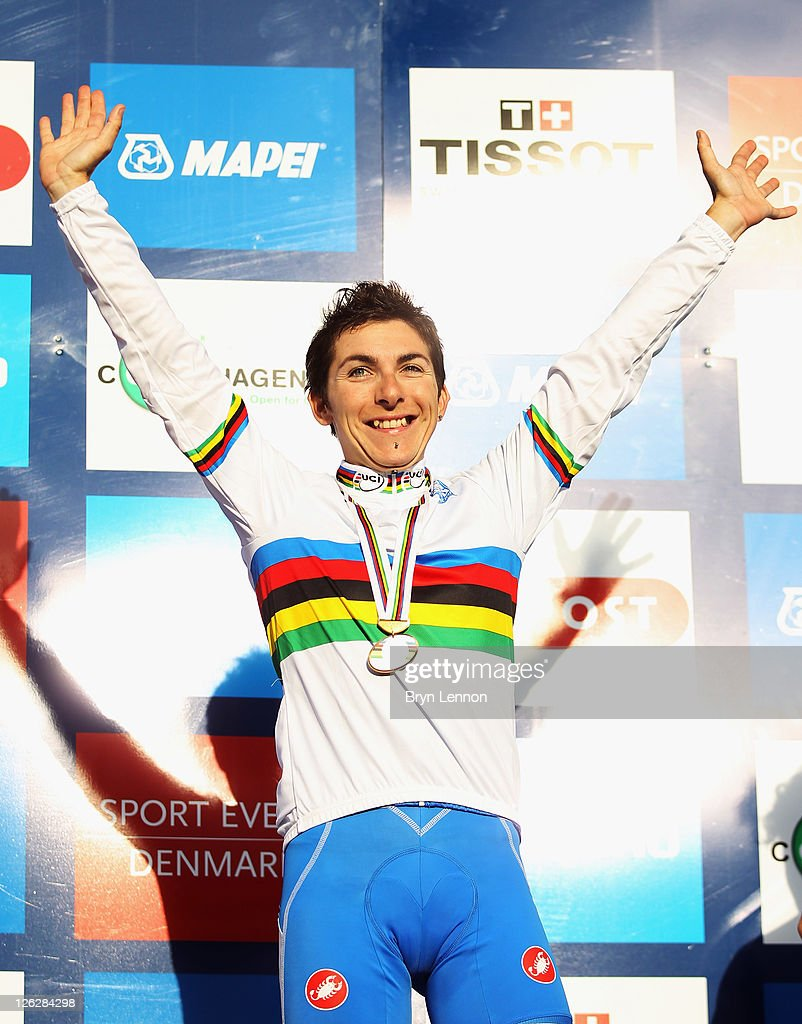 <a gi-track='captionPersonalityLinkClicked' href=/galleries/search?phrase=Giorgia+Bronzini&family=editorial&specificpeople=2501868 ng-click='$event.stopPropagation()'>Giorgia Bronzini</a> of Italy celebrates winning the Elite Women's Road Race during day six of the UCI Road World Championships on September 24, 2011 in Copenhagen, Denmark.