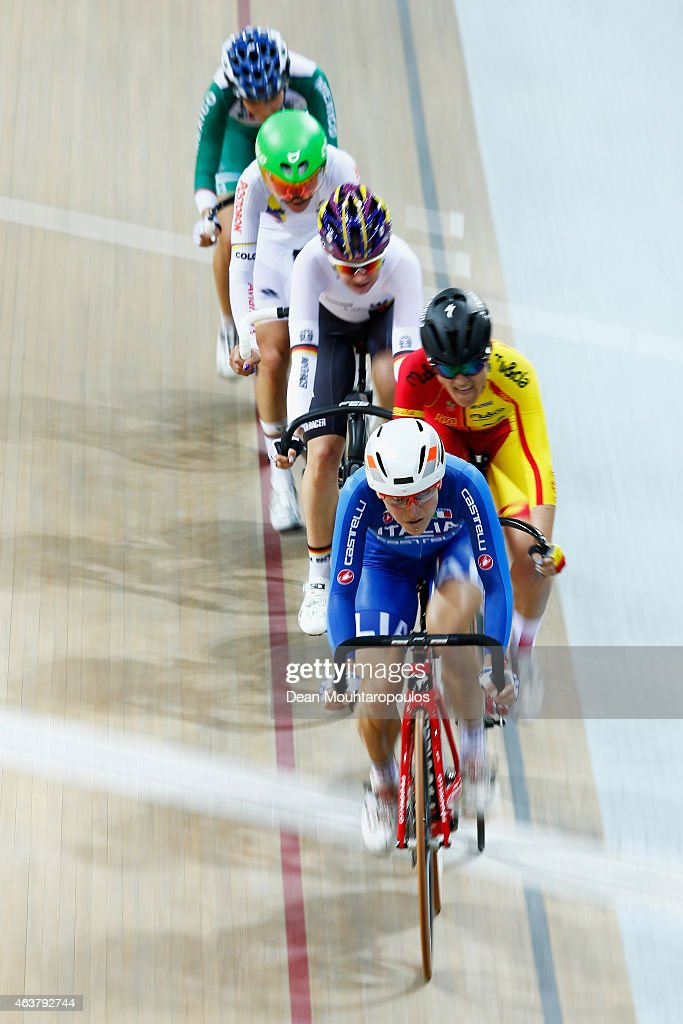 <a gi-track='captionPersonalityLinkClicked' href=/galleries/search?phrase=Giorgia+Bronzini&family=editorial&specificpeople=2501868 ng-click='$event.stopPropagation()'>Giorgia Bronzini</a> of Italy leads the pack in the Women's Points Race Final during day 1 of the UCI Track Cycling World Championships held at National Velodrome on February 18, 2015 in Paris, France.