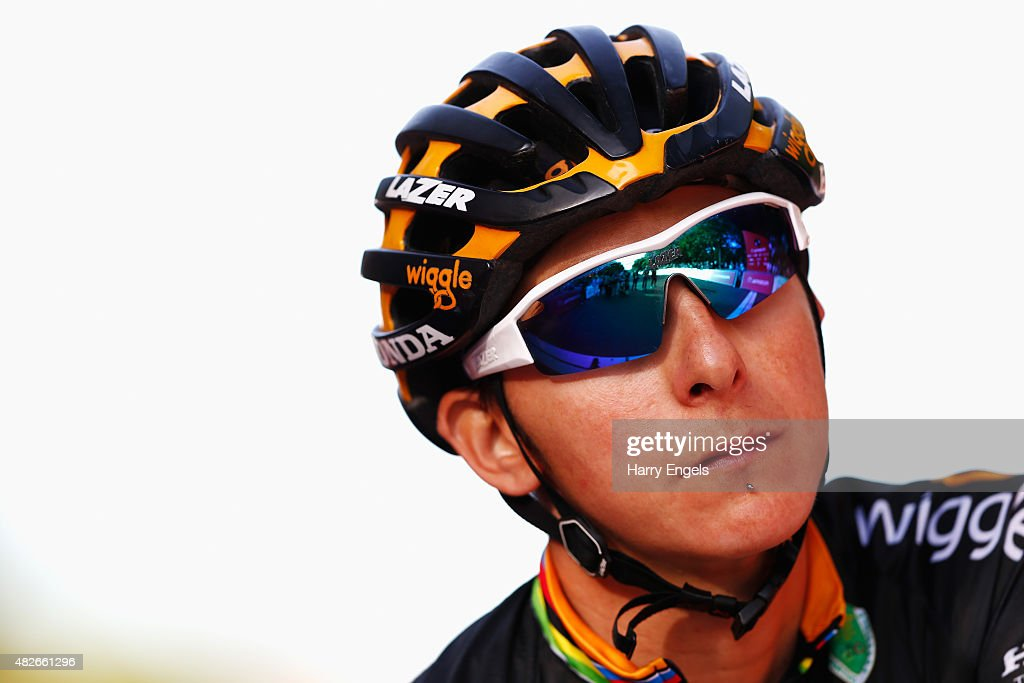 <a gi-track='captionPersonalityLinkClicked' href=/galleries/search?phrase=Giorgia+Bronzini&family=editorial&specificpeople=2501868 ng-click='$event.stopPropagation()'>Giorgia Bronzini</a> of Wiggle Honda looks on ahead of the Ride London Women's Grand Prix in St. James's Park on August 1, 2015 in London, England.