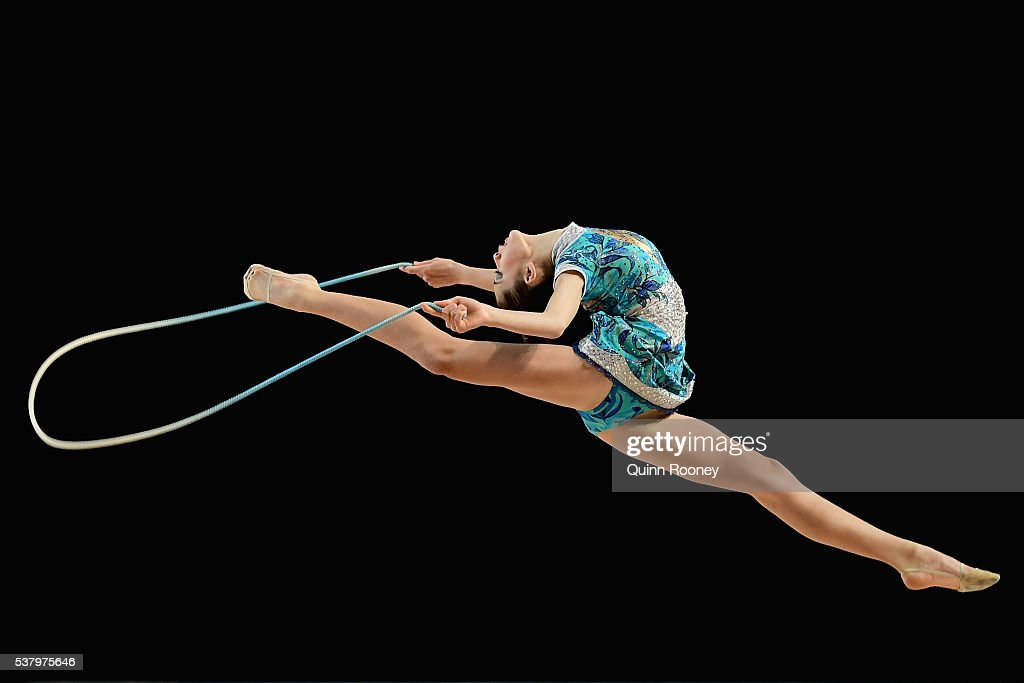 Giorgia Chin of West Australia competes with the rope in the rhythmic gymnastics during the 2016 Australian Gymnastics Championships at Hisense Arena...