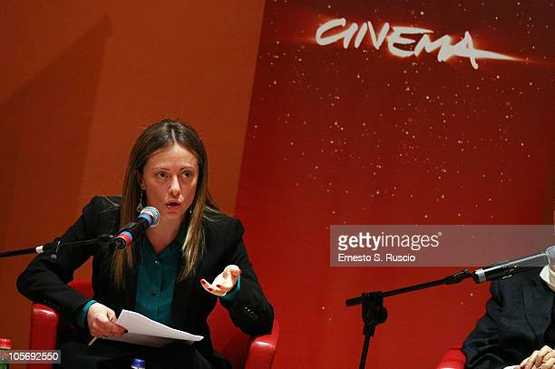 Giorgia Meloni attends the 'The 5th International Rome Film Festival' Press Conference at Auditorium Parco Della Musica on October 19 2010 in Rome...