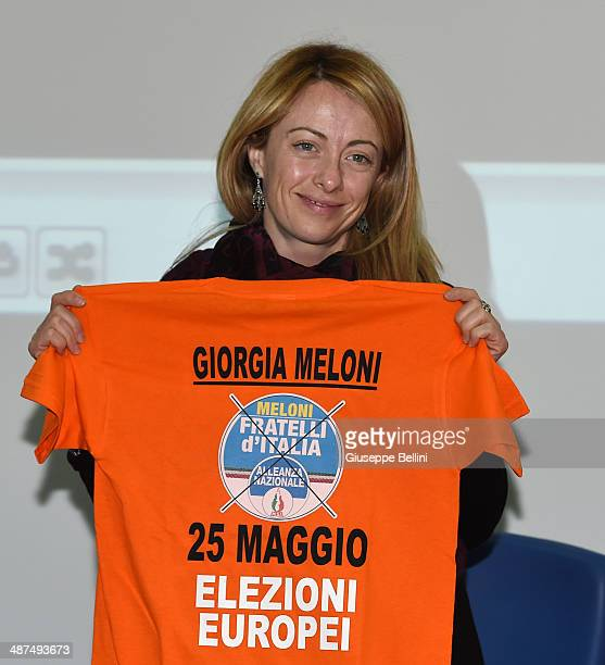 Giorgia Meloni during Italian Politician Giorgia Meloni Opens The Campaign Of Her 'Fratelli D'Italia' Party on April 30 2014 in Ascoli Piceno Italy...