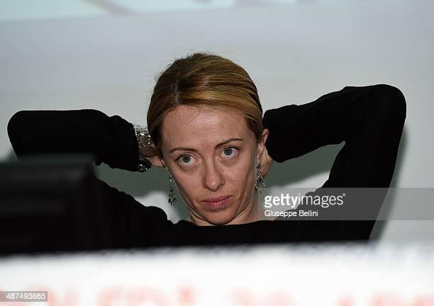 Giorgia Meloni during Italian Politician Giorgia Meloni Opens The Campaign Of Her 'Fratelli D'Italia' Party on April 30 2014 in Ascoli Piceno Italy...