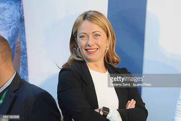 Giorgia Meloni leader of Fratelli d'Italia political party attends the manifestation 'Liberiamoci' with Matteo Salvini leader of Lega Nord party at...