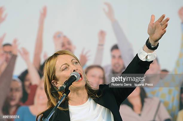 Giorgia Meloni leader of Fratelli d'Italia political party holds his speech during the manifestation 'Liberiamoci' with Matteo Salvini leader of Lega...