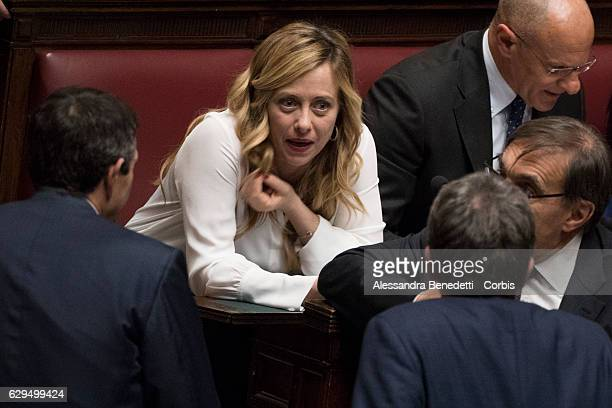 Giorgia Meloni Leader of right wing party 'Fratelli d'Italia' attenda confidence vote on Paolo Gentiloni's coalition government at the Italian...