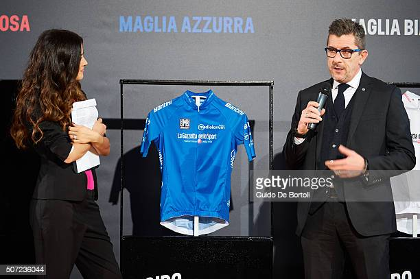 Giorgia Palmas and Luca Lisoni Clients Communication and Marketing Manager at Banca Mediolanum attend the Giro D'Italia 2016 jersey unveiling on...