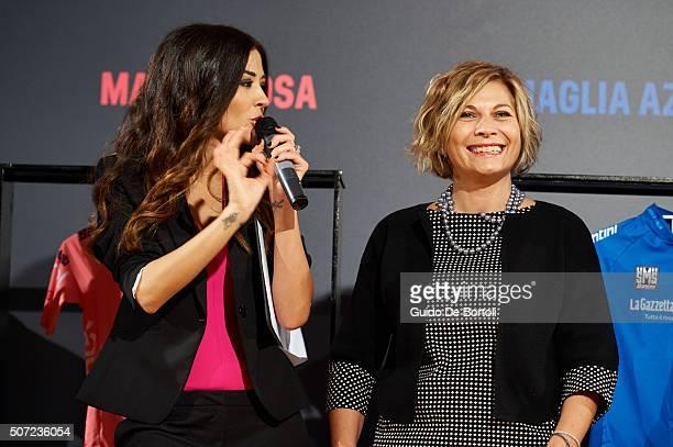 Giorgia Palmas and Monica Santini managing director Santini Maglificio Sportivo attend the Giro D'Italia 2016 jersey unveiling on January 28 2016 in...