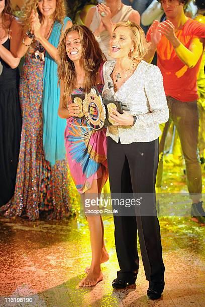 Giorgia Palmas and Simona Ventura attend 'L'Isola Dei Famosi' The Final on April 26 2011 in Milan Italy
