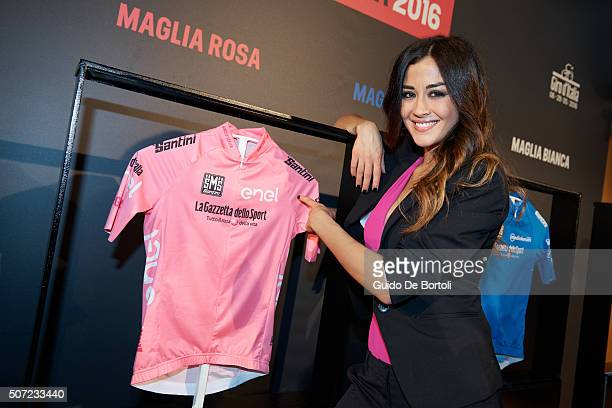 Giorgia Palmas attends the Giro D'Italia 2016 jersey unveiling on at Sala Buzzati on January 28 2016 in Milano Italy