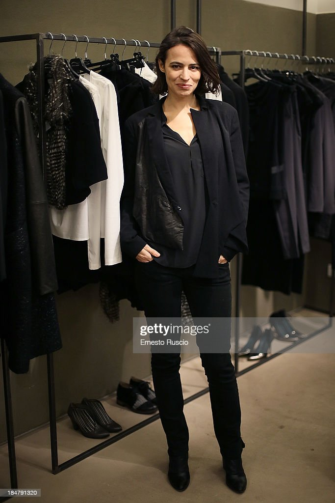 Giorgia Sinicorni attends the Malloni Boutique opening at Via Della Croce on October 16, 2013 in Rome, Italy.